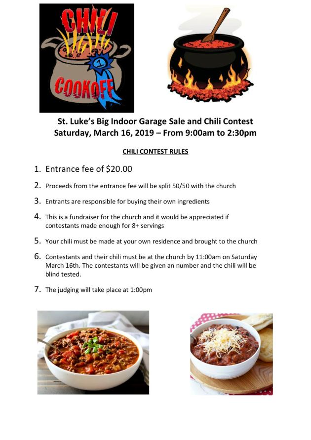 St. Luke's Chili Contest Rules
