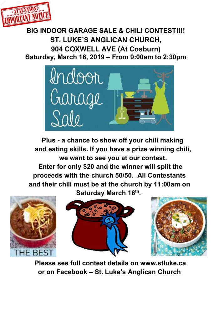 St. Luke's Indoor Garage Sale and Chili Contest - March 16, 2019